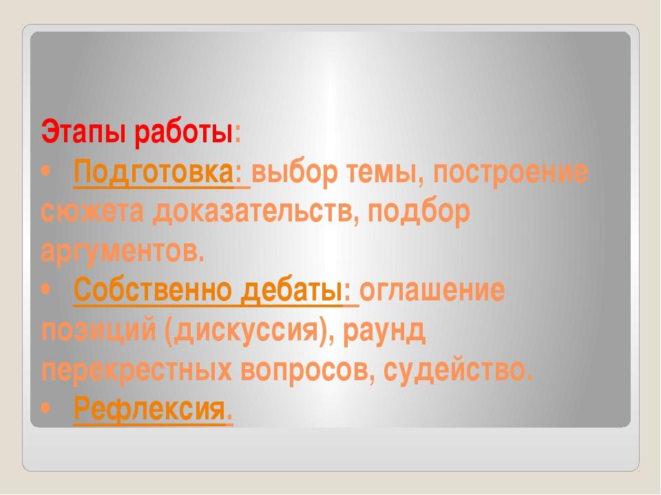 Этапы работы: •Подготовка: выбор темы, построение сюжета доказательств, подб...