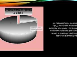Мы провели опросы среди жителей города Ачинска по вышесказанным вопросам и в