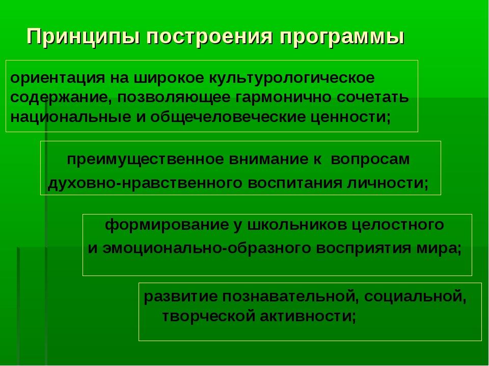 Принципы построения программы развитие познавательной, социальной, творческой...