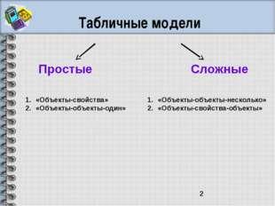 Табличные модели Простые Сложные «Объекты-свойства» «Объекты-объекты-один» «О
