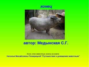 конец автор: Медынская С.Г. Всех этих животных взяла из книги Натальи Михайло