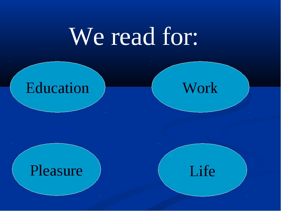 Education Work Pleasure Life We read for:
