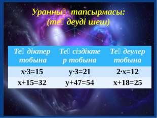Уранның тапсырмасы: (теңдеуді шеш) Теңдіктер тобына Теңсіздіктер тобына Теңде
