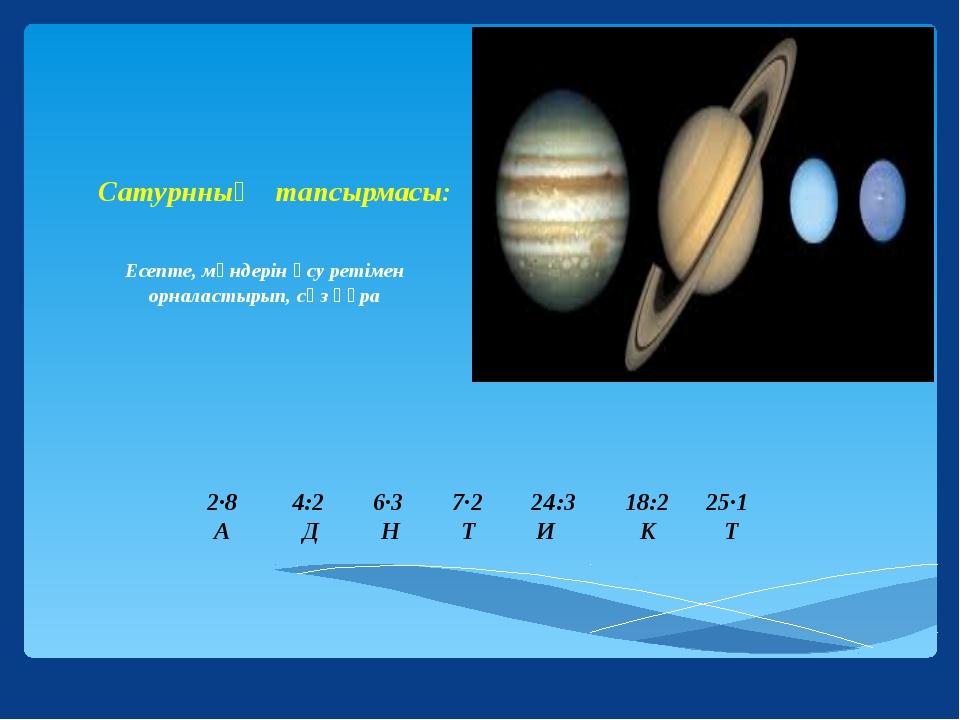 2∙8 4:2 6∙3 7∙2 24:3 18:2 25∙1 А Д Н Т И К Т Сатурнның тапсырмасы: Есепте, м...