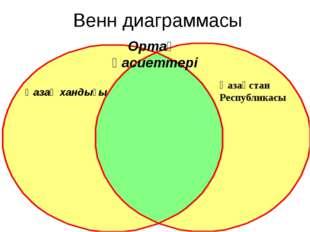 Венн диаграммасы Қазақ хандығы Қазақстан Республикасы Ортақ қасиеттері