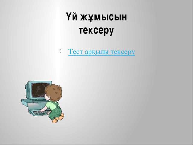 Үй жұмысын тексеру Тест арқылы тексеру