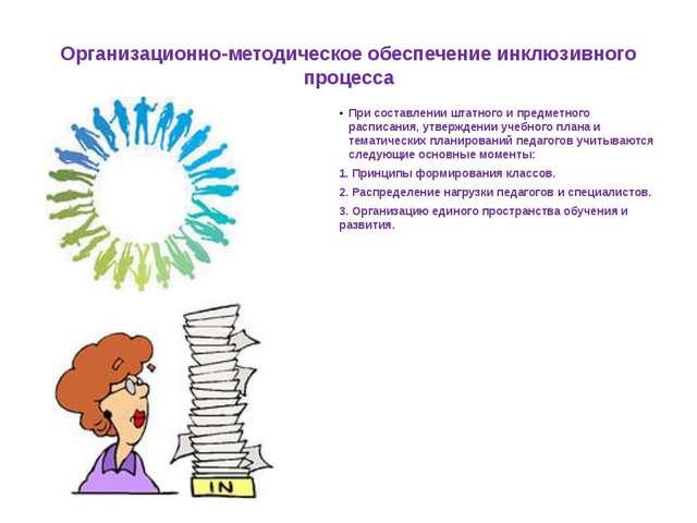 Организационно-методическое обеспечение инклюзивного процесса При составлении...