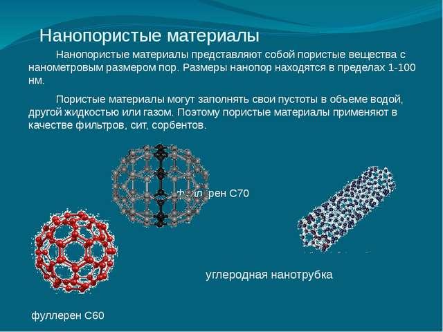 Нанопористые материалы Нанопористые материалы представляют собой пористые ве...