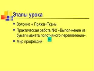 Этапы урока Волокно + Пряжа=Ткань Практическая работа №2 «Выпол-нение из бума