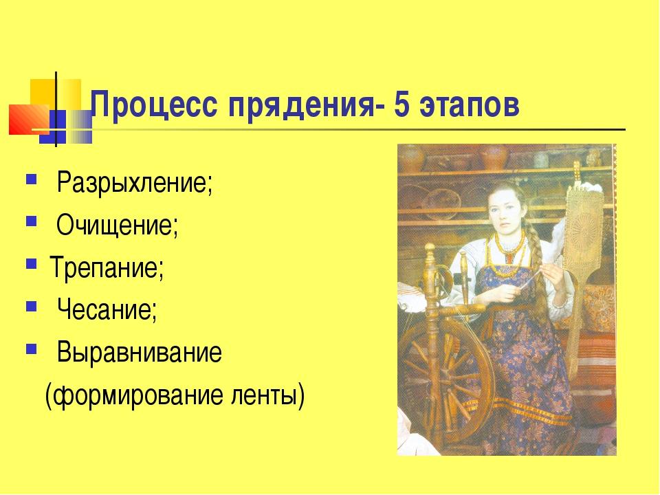 Процесс прядения- 5 этапов Разрыхление; Очищение; Трепание; Чесание; Выравнив...