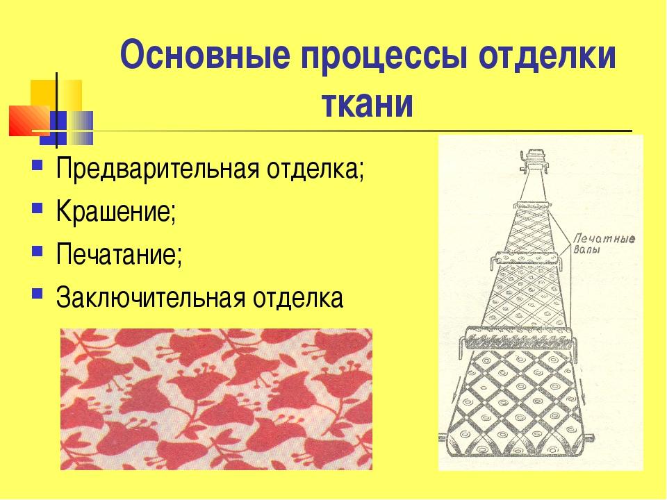 Основные процессы отделки ткани Предварительная отделка; Крашение; Печатание;...