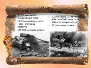 Losses USA 36,000 people (6.5 thousand were killed, 13.5 thousand were in the