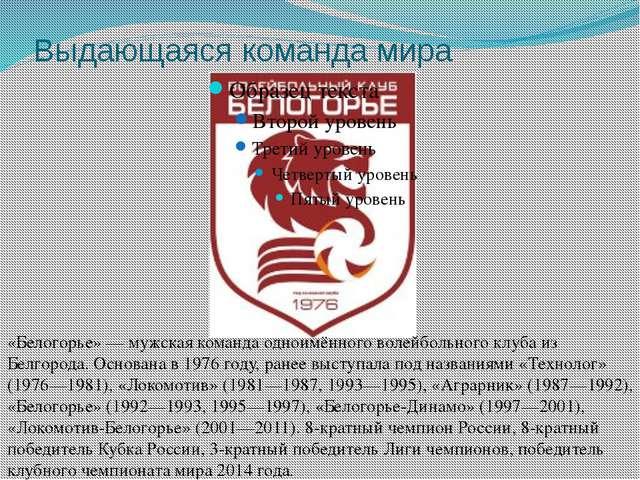 Выдающаяся команда мира «Белогорье» — мужская команда одноимённого волейбольн...
