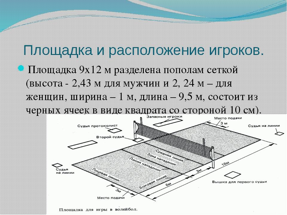 Площадка и расположение игроков. Площадка 9х12 м разделена пополам сеткой (вы...