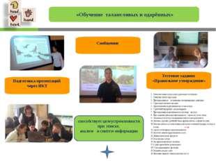 «Обучение талантливых и одарённых» Подготовка презентаций через ИКТ Тестовое