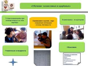«Обучение талантливых и одарённых» Оценивание в группе , паре повышение моти