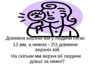 Довжина верхніх вій у людини сягає 12 мм, а нижніх - 2\3 довжини верхніх вій