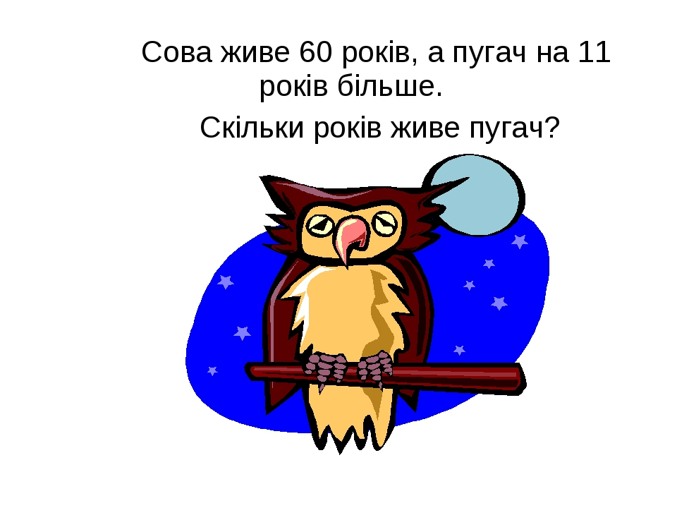 Сова живе 60 років, а пугач на 11 років більше. Скільки років живе пугач?