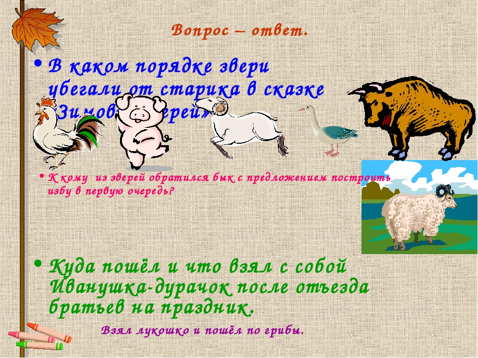 Вопрос – ответ. В каком порядке звери убегали от старика в сказке «Зимовье зв...