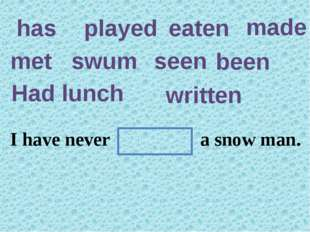has played eaten made met swum seen been Had lunch written They have in this
