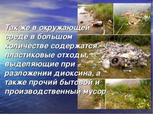 Так же в окружающей среде в большом количестве содержатся пластиковые отходы,