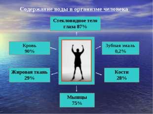 Стекловидное тело глаза 87% Кровь 90% Жировая ткань 29% Зубная эмаль 0,2% Кос