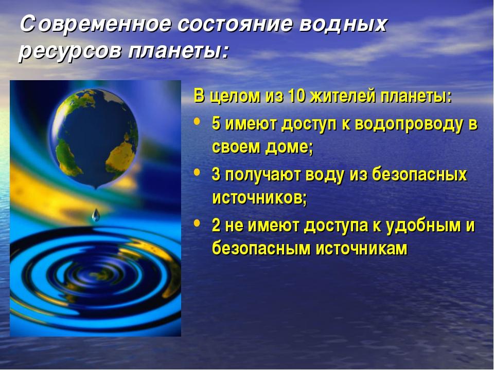 Современное состояние водных ресурсов планеты: В целом из 10 жителей планеты:...