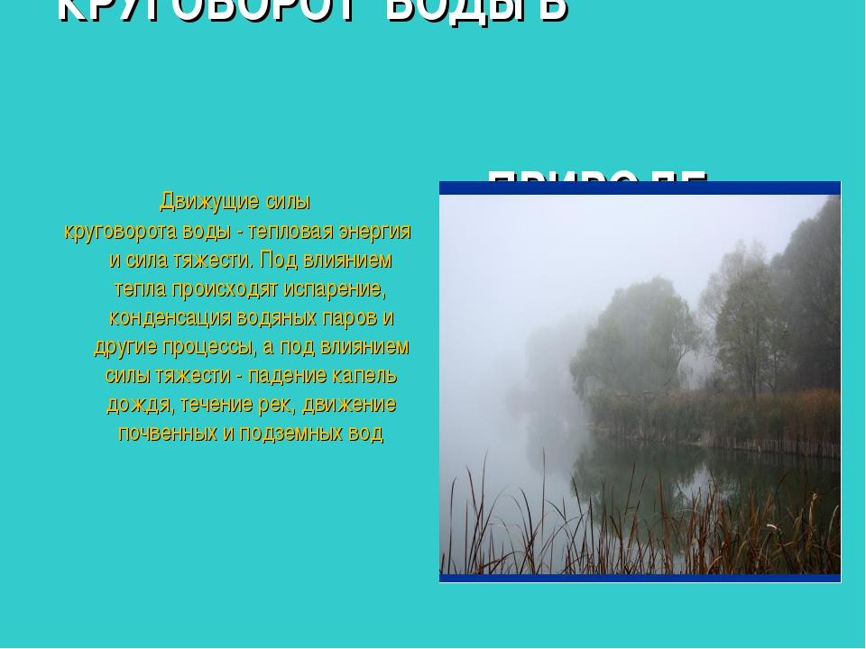 КРУГОВОРОТ ВОДЫ В ПРИРОДЕ Движущие силы круговорота воды - тепловая энергия и...