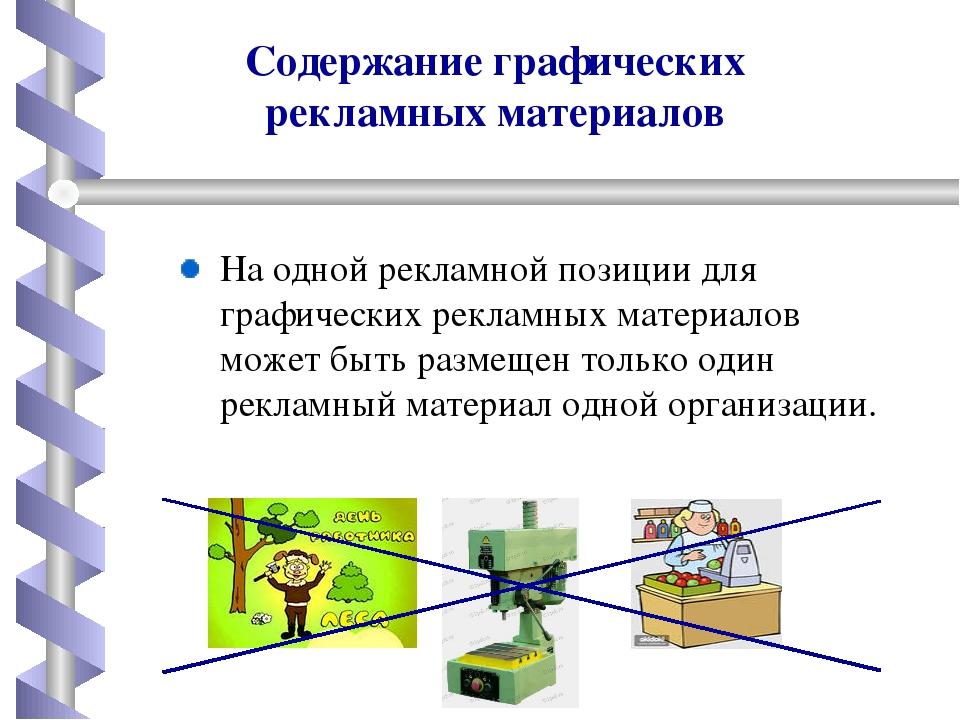 Содержание графических рекламных материалов Наодной рекламной позиции для гр...