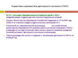 Нормативно-правовая база деятельности школьного ПМПк ФГОС учитывает образоват