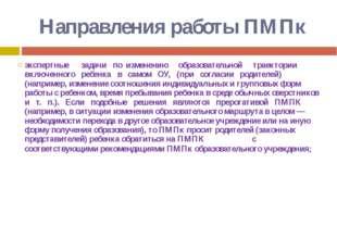 Направления работы ПМПк экспертные задачи по изменению образовательной траект