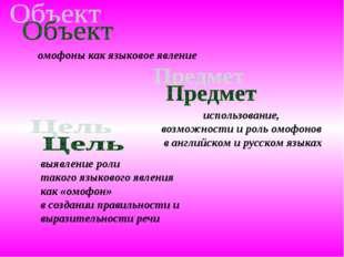 использование, возможности и роль омофонов в английском и русском языках омоф