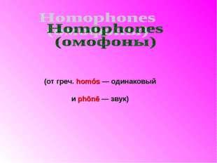 (от греч. homós — одинаковый и phōnē — звук)