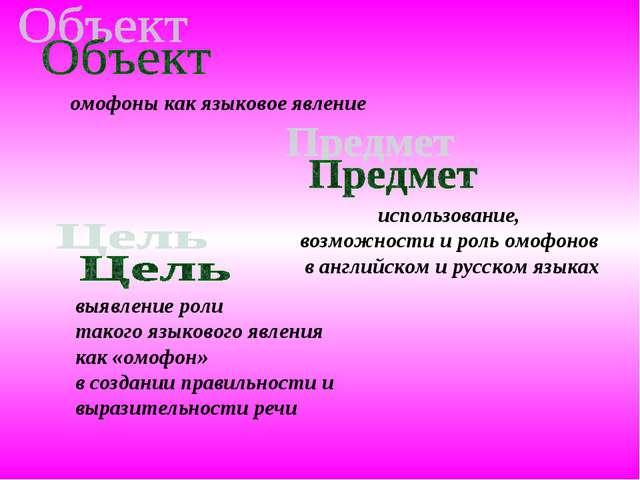 использование, возможности и роль омофонов в английском и русском языках омоф...