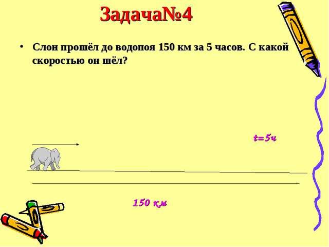Задача№4 Слон прошёл до водопоя 150 км за 5 часов. С какой скоростью он шёл?...