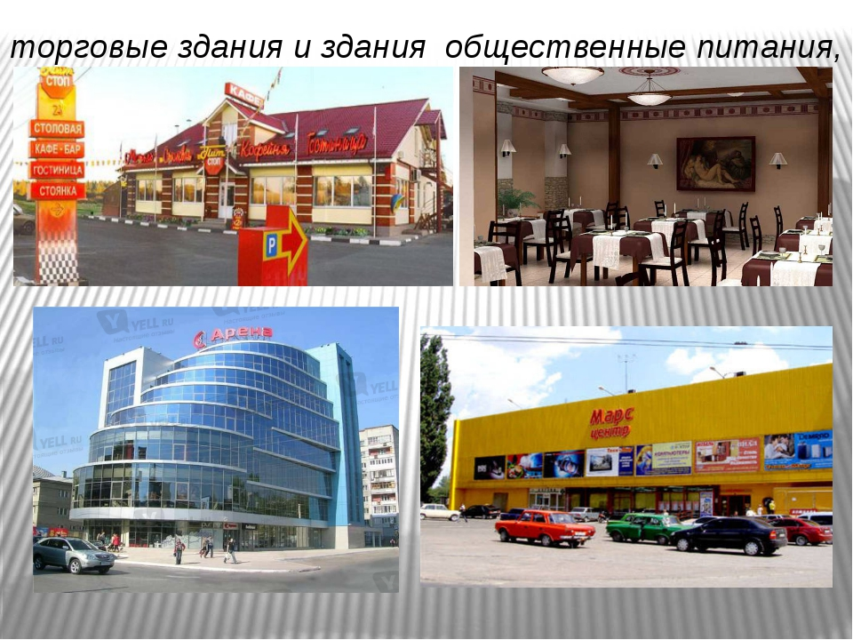 торговые здания и здания общественные питания,