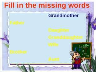 Fill in the missing words Г г Grandmother Father Daughter Granddaughter Wife