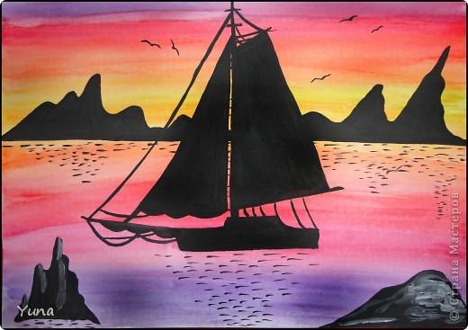 Картина панно рисунок Рисование и живопись закат Гуашь