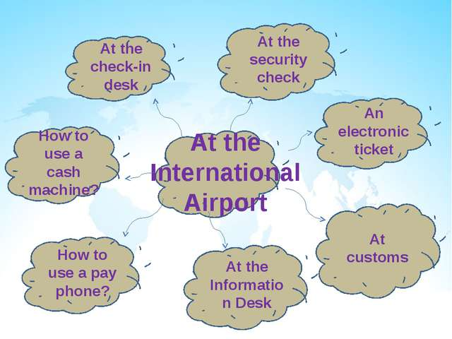 At the International Airport At the Information Desk At customs An electroni...