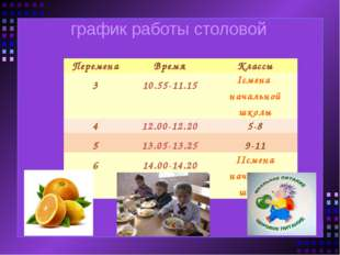 график работы столовой Перемена Время Классы 3 10.55-11.15 Iсмена начальной ш