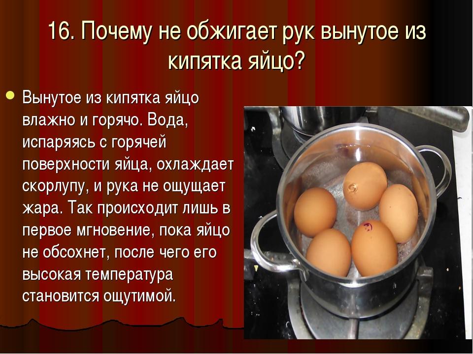 16. Почему не обжигает рук вынутое из кипятка яйцо? Вынутое из кипятка яйцо в...