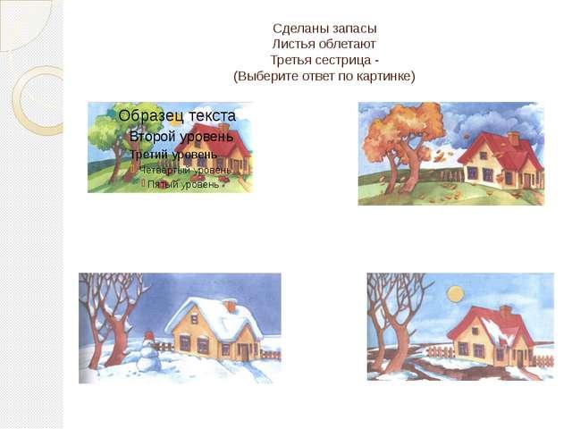 Сделаны запасы Листья облетают Третья сестрица - (Выберите ответ по картинке)
