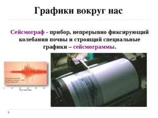 Графики вокруг нас Сейсмограф - прибор, непрерывно фиксирующий колебания поч
