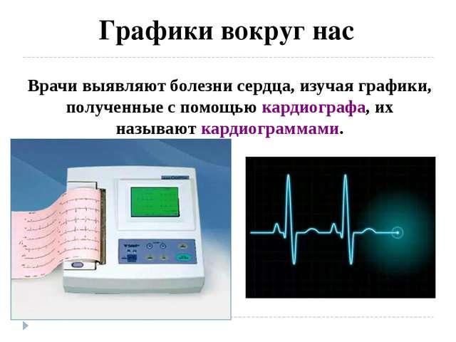 Графики вокруг нас Врачи выявляют болезни сердца, изучая графики, полученные...
