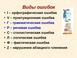 Виды ошибок l– орфографическая ошибка V– пунктуационная ошибка Г – граммати