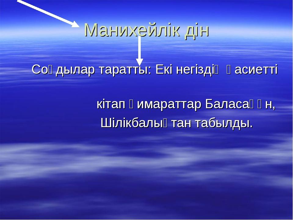 Манихейлік дін Соғдылар таратты: Екі негіздің қасиетті кітап ғимараттар Балас...