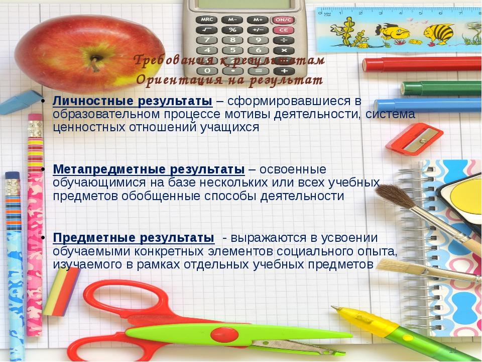 Требования к результатам Ориентация на результат Личностные результаты – сфор...