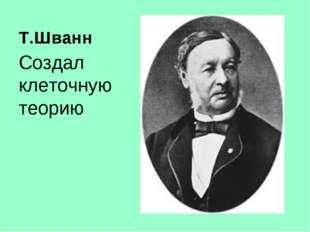Т.Шванн Создал клеточную теорию