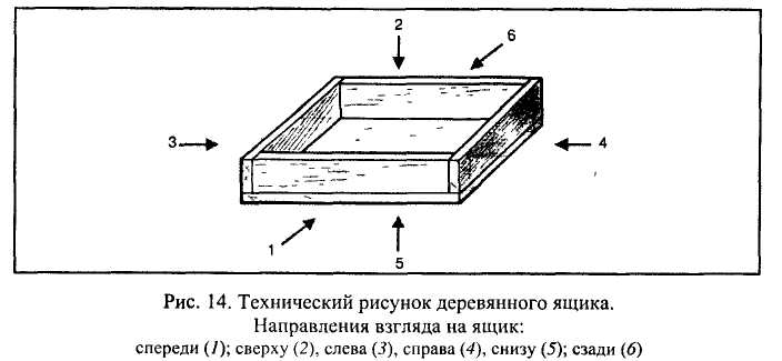 Технический рисунок деревянного ящика