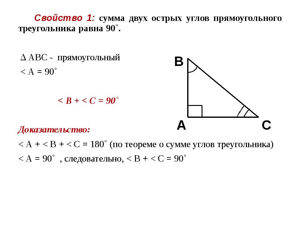 Свойство 1: сумма двух острых углов прямоугольного треугольника равна 90˚. Δ...